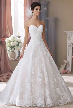 Brides: David Tutera for Mon Cheri. Strapless corded lace appliqué, tulle and organza over taffeta ball gown wedding dress with sweetheart neckline, hand-beaded corded lace appliquéd bodice with dropped waistline features a slightly curved back bodice with cascading covered buttons, tulle and organza full skirt with cascading matching beaded lace appliqués spill into a scalloped hemline with chapel length train, detachable spaghetti and halter straps included.