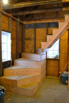 Good idea for a basement, you could add a small door so you could use the small landing for a bit of storage.