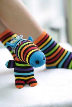 Handmade   plush  Zebra  Stuffed Animal sock Doll by hellykary, $12.90