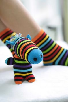Handmade   plush  Zebra  Stuffed Animal sock Doll by hellykary, $12.90