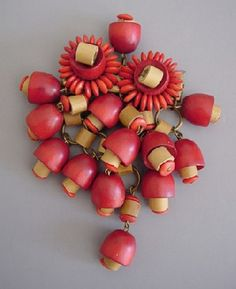 Haskell Hess wood red, natural beads mushrooms brooch, 1940