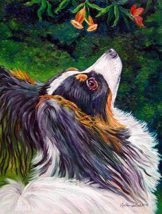 Papillon dog Giclee Fine Art Print size 8x10 on by DogArtByLyn, $19.94