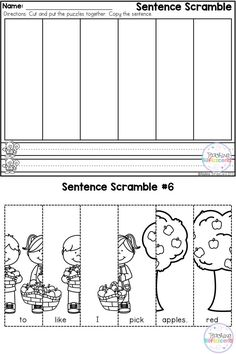 FREE First Grade Sentence Building!!  First Grade Writing Station  These are great for first grade or advance kindergarten to practice building sentences. They are perfect for literacy centers, daily morning work. These are specifically designed for beginning writers and beginning readers.