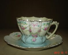 RS Prussia Cup Saucer Set Blown Out Mold
