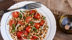Chickpea Salad with Tomatoes and Chipotle Summer Tomato, Chickpea Salad, Bean Salad, Orzo, Chipotle, Kung Pao Chicken, Lentils, Hummus, Spices