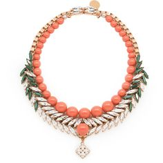 Bettie coral ($649) ❤ liked on Polyvore featuring jewelry, necklaces, clear jewelry, coral jewelry, green necklaces, clear necklace and coral necklace