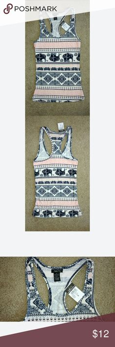 White Pink Blue Elephant Print Racer Back Tank S NWT Stretchy comfortable material Rue 21 Tops Tank Tops