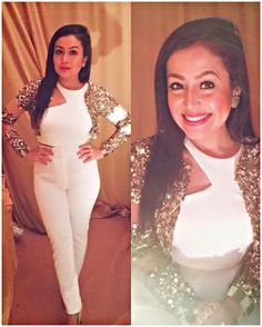 Neha Kakkar In White Western Wear,New style Indo Western,White Plain Western Wear with Tikki Work jacket,Party Wear Indo Western Western Dresses For Girl, Western Outfits, Western Wear, Neha Kakkar Dresses, Gown With Jacket, Mehendi Outfits, Sleeves Designs For Dresses, High Fashion Dresses, Dresses For Teens