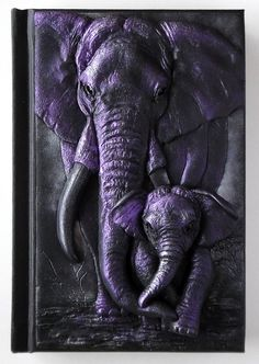 African elephants polymer clay journal notebook by ClaymanShop