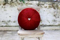 Dark red velvet round pillow with heart crystal button