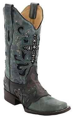 Corral® Women's Crater Black/Blue Wash w/ Stud Cross Square Toe Western Boot   Cavender's Boot City