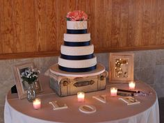 Cakes by Becky: Navy & Coral Wedding Cake (And an Exceptional Loca… 2020 Wedding Cakes Ideas Coral Wedding Centerpieces, Navy Blue Wedding Cakes, Wedding Cake Table Decorations, Wedding Table, Wedding Ideas, Coral Weddings, July Wedding, Wedding Set, Wedding Coral