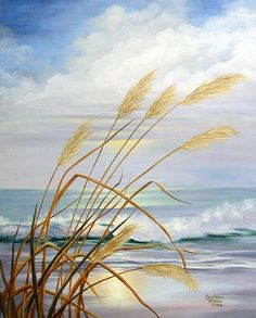 Seascape Paintings, Landscape Paintings, Beach Paintings, Painting Lessons, Pictures To Paint, Beach Pictures, Beach Scenes, Beach Art, Ocean Waves