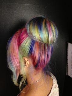 Rainbown bun #hair