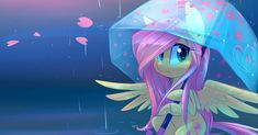 Fluttershy in the Rain by Hollulu.deviantart.com on @DeviantArt
