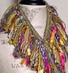 Scarf - Green Pink Gold Fringed Fiber Art Necklace Scarf. 40.40, via Etsy.