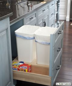 Kitchen recycle bins with space to store bags