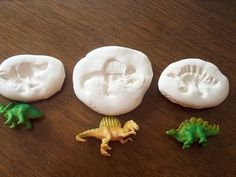 """Extension/Sensory activity for Dinosaurs Before Dark (Magic Tree House #1) Can use with addition and subtraction imprints ( """"fossils"""" ) in the clay."""
