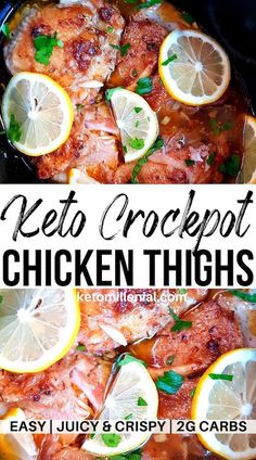 keto chicken thighs in slow cooker. This cheap keto dinner is so simple to make and always cooks up perfectly tender and with melt-in-your-mouth consistency. Try this easy slow cooker chicken quarters recipe for some unbelievably tasty chicken! Chicken Thighs Dinner, Keto Chicken Thighs, Slow Cooker Chicken Thighs, Chicken Cooker, Chicken Quarter Recipes, Chicken Recipes, Keto Chicken Thigh Recipes, Healthy Chicken, Cena Keto