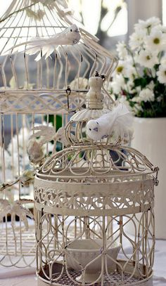 Shabby Chic Bird Cages by saddleworthshindigs on flickr