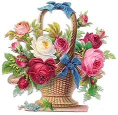 print this for decopauge in master bedroom: Antique Victorian Die Cut Scrap PINK ROSES in WICKER BASKET