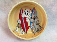 Pet Bowl 6 Dog Bowl for Food or Water Personalized at no Charge Signed by Artist Debby Carman -- Click on the image for additional details.