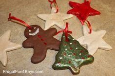 DOUGH ORNAMENTS OR BAKER'S CLAY 4 c. flour 1 c. salt 1 1/2 c. water Cookie cutters Drinking Straw Yarn Water colors or tempera paint Glitter (opt.) Clear fixative spray Mix flour, salt and water together. Knead 5 minutes and shape into a ball. Roll dough on a floured surface. Cut into shapes with cookie cutters or shape into your own designs. Make a hole in the top of each ornament with a drinking straw. Bake at 350 degrees for 1 hour. Rec. Cooks.com