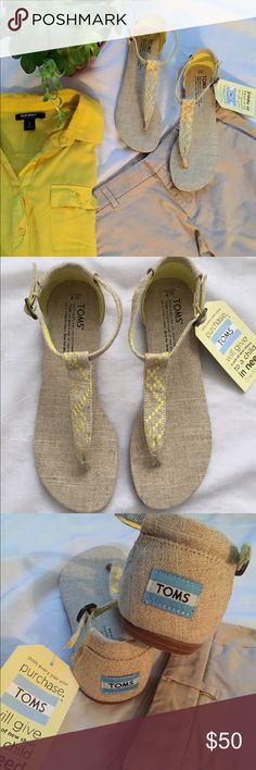TOMS playa sandals New with tags these burlap sandals are versatile and comfort all in one! An easy T strap sandal with rubber roles and a little flash of color. TOMS Shoes Sandals