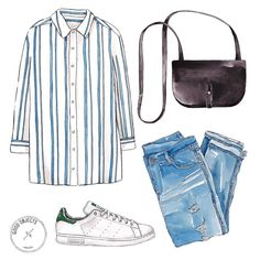 Good objects - Light blue stripes are everywhere! and some classic basics #goodobjects #illustration watercolor