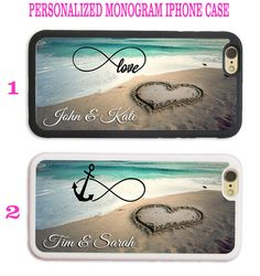 INFINITY LOVE BEACH HEART ANCHOR MONOGRAM PHONE CASE COVER FOR IPHONE 6S 7 SE 5S…