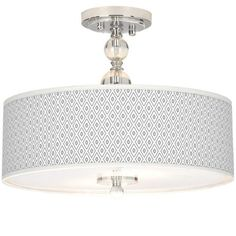 "Diamonds Giclee 16"" Wide Semi-Flush Ceiling Light -"