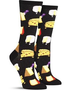 cheese in black awesome food novelty socks