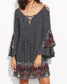 2017 Vintage Floral Print Spring Summer Dress Long Sleeve Lace Up Cold Shoulder Fit And Flare Dress