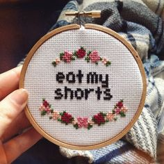 "4"" Eat My Shorts Bart Simpsons Cross Stitch Embroidery by 21stCenturyGrandma on Etsy https://www.etsy.com/listing/226306022/4-eat-my-shorts-bart-simpsons-cross"