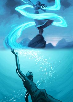 Aang and Katara, courtesy of the amazing Bryan Konietzko