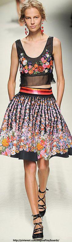 Alberta Ferretti S/S 2014#aiowedding - http://www.aiowedding.com/wedding-dresses/george-bride-charmig-lace-over-satin-with-beaded-waist...more fab flower embellished traditional folk inspired fashion,a real flavour of mexican fabrics wonderful ethnic,gypsy style