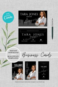In need of a modern business card for your real estate business but don't have the time to make one from scratch or want to wait for a designer to create one? This might be just the template you need.  This beautifully designed business card template comes with three different formats and can be edited easily with Canva.com to suit your brand or business. Realtor Business Cards, Real Estate Business Cards, Modern Business Cards, Business Logo, Real Estate Marketing, Marketing Tools, Social Media Marketing, Real Estate Templates, Real Estate Buyers