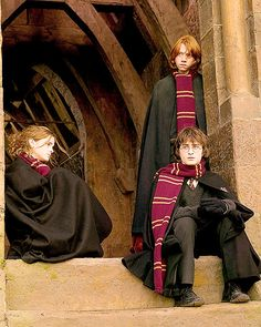 """Emma Watson as Hermione Granger -- Rupert Grint as Ron Weasley -- Daniel Radcliffe as Harry Potter . """"The Golden Trio"""" from all 8 of the Harry Potter movies. Memes Do Harry Potter, Fans D'harry Potter, Mundo Harry Potter, Harry Potter Films, Harry Potter Love, Harry Potter Universal, Harry Potter World, Potter Facts, Harry Potter Hair"""