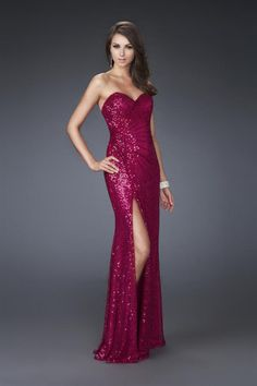 2014 Unique Prom Dress Sweetheart Column Floor Length Ruffled With Slit Lace