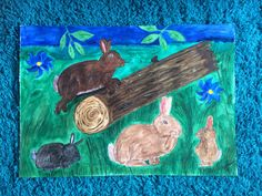 Watercolour entitled It's Playtime for the Funny Bunnies