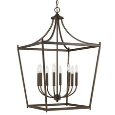 """22"""" w x 35.25 H Stanton Burnished Bronze Eight Light For over Breakfast Table Capital Lighting Fixture Company Lanter"""