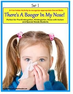 Social Skills Social Story and File Folder Activity About Picking Your Nose for Autism, Spe Social Stories Autism, Social Skills Autism, Autism Education, Special Education Classroom, Speech Therapy Activities, Language Activities, Nose Picking, File Folder Activities, Effective Learning
