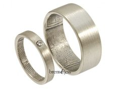 Sterling Silver with tiny... Brent & Jess Fingerprint Wedding Rings Custom Handmade Fingerprint Jewelry
