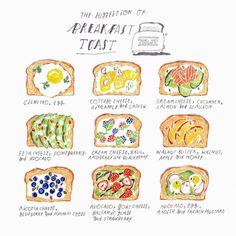 Homemade breakfast toast illustration here! Cute Food, Good Food, Yummy Food, Homemade Breakfast, Breakfast Recipes, Vegetarian Breakfast, Vegan Vegetarian, Dessert Recipes, Mein Café