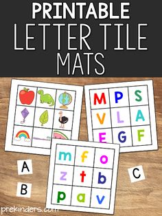 "These printable letter tile activity cards will help your prekinders practice letter matching and letter-sound matching. The ""regular"" letter tiles in the picture below can be found many places: I have seen them in teacher stores, Teaching The Alphabet, Alphabet Activities, Preschool Alphabet, Free Preschool, Preschool Printables, Preschool Lessons, Literacy Activities, Preschool Ideas, Teaching Kids"