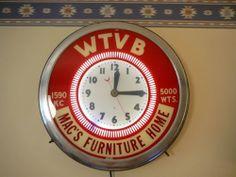 LARGE WTVB RADIO STATION ADVERTISING REVERSE PAINT WALL CLOCK-COLDWATER MICHIGAN