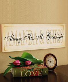 Personalized 'Always Kiss Me Goodnight' Wrapped Canvas #zulily #zulilyfinds
