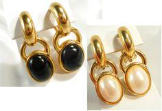 Reversible Pearl & Jet/Black Gold Hoop Earrings by MarlosMarvelousFinds, $20.00