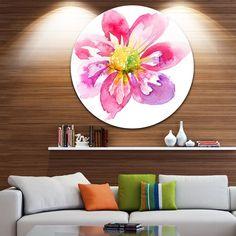 Designart 'Full Bloom Flower' Floral Glossy Metal Wall Art