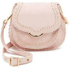 Cynthia Rowley Phoebe Saddle Bag (5.056.325 VND) ❤ liked on Polyvore featuring bags, handbags, shoulder bags, blush, pink purse, studded leather purse, leather saddle bag purse, pink studded purse и genuine leather handbags